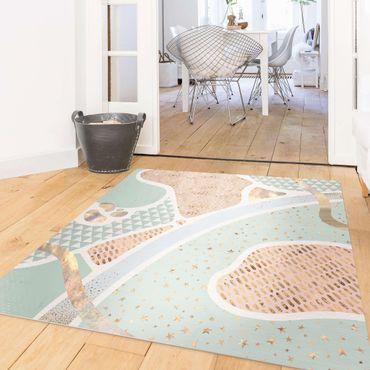 Vinyl-Teppich - Abstrakte Seelandschaft Pastellmuster - Quadrat 1:1