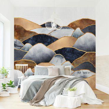 Fototapete - Goldene Berge Aquarell - Fototapete Quadrat