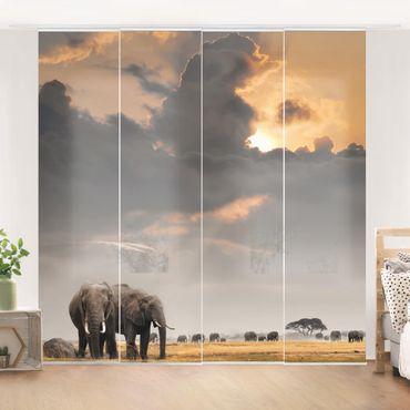 Schiebegardinen Set - Elefanten der Savanne - Flächenvorhänge