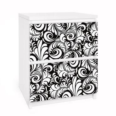 Möbelfolie für IKEA Malm Kommode - Selbstklebefolie Black and White Leaves Pattern