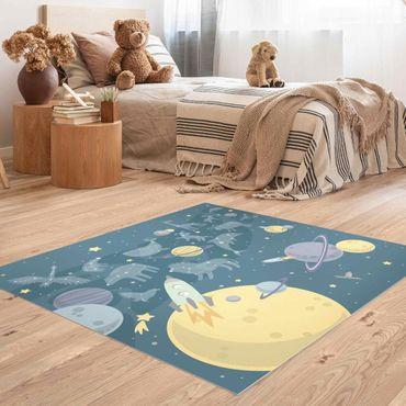Vinyl-Teppich - Planeten mit Sternzeichen und Raketen - Quadrat 1:1