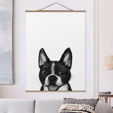 Stoffbild mit Posterleisten - Laura Graves - Illustration Hund Boston Schwarz Weiß Malerei - Hochformat 4:3