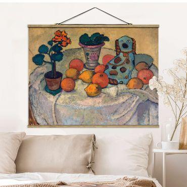 Stoffbild mit Posterleisten - Paula Modersohn-Becker - Stillleben mit Orangen - Querformat 3:4