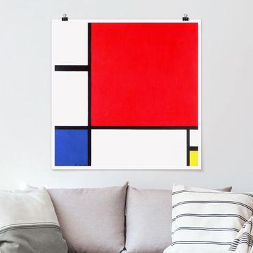 Poster - Piet Mondrian - Komposition Rot Blau Gelb - Quadrat 1:1