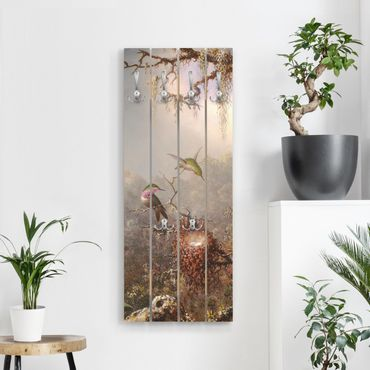 Wandgarderobe Holz - Martin Johnson Heade - Orchidee und drei Kolibris - Haken chrom Hochformat