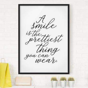 Bild mit Rahmen - A smile is the prettiest thing - Hochformat 3:4