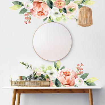 Wandtattoo - Aquarell Rosa Blüten Wiese XXL