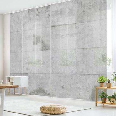 Schiebegardinen Set - Große Betonplatten - Flächenvorhänge