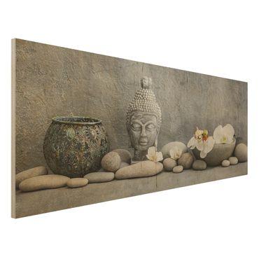 Holzbild - Zen Buddha mit weißen Orchideen - Panorama