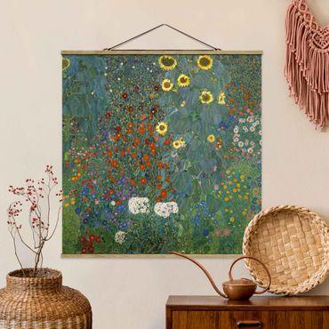 Stoffbild mit Posterleisten - Gustav Klimt - Garten Sonnenblumen - Quadrat 1:1