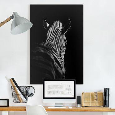 Leinwandbild - Dunkle Zebra Silhouette - Hochformat 3:2