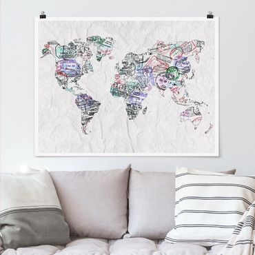 Poster - Reisepass Stempel Weltkarte - Querformat 3:4