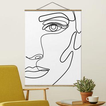 Stoffbild mit Posterleisten - Line Art Portrait Frau Schwarz Weiß - Hochformat 4:3