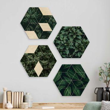Hexagon Bild Holz 4-teilig - Grüne Blätter Geometrie Set I