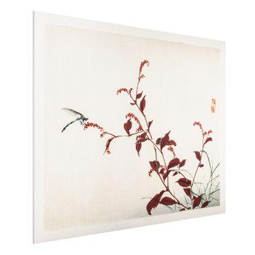 Forex Fine Art Print - Asiatische Vintage Zeichnung Roter Zweig mit Libelle - Querformat 3:4