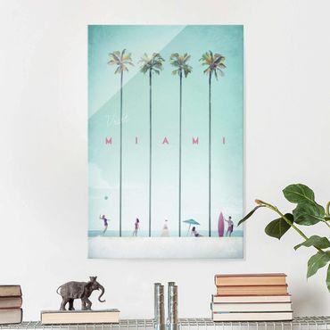 Glasbild - Reiseposter - Miami - Hochformat 3:2