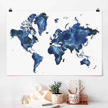 Poster - Wasser-Weltkarte hell - Querformat 2:3