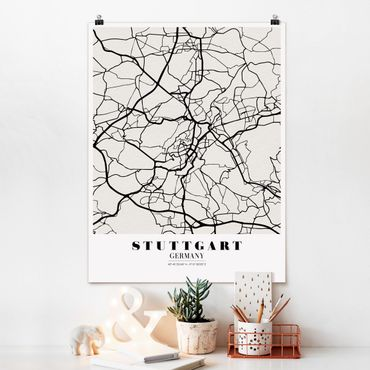 Poster - Stadtplan Stuttgart - Klassik - Hochformat 3:4