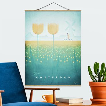 Stoffbild mit Posterleisten - Reiseposter - Amsterdam - Hochformat 4:3