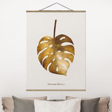 Stoffbild mit Posterleisten - Gold - Monstera - Hochformat 4:3