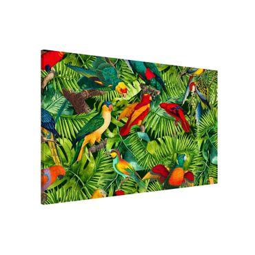 Magnettafel - Bunte Collage - Papageien im Dschungel - Memoboard Querformat 2:3