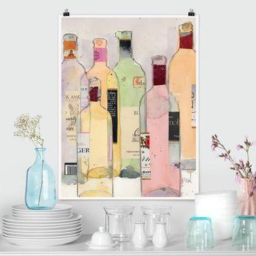 Poster - Weinflaschen in Wasserfarbe I - Hochformat 3:4