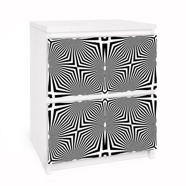 Möbelfolie für IKEA Malm Kommode - Selbstklebefolie Abstraktes Ornament Schwarzweiß