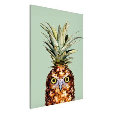 Magnettafel - Jonas Loose - Ananas mit Eule - Memoboard Hochformat 3:2