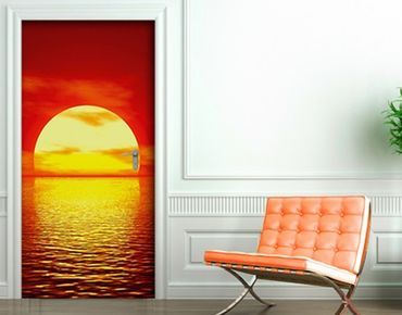 "Fototapete Tür - Papier No.15 ""RED SUNSET"" 100x210cm"