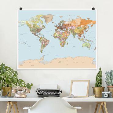 Poster - Politische Weltkarte - Querformat 3:4