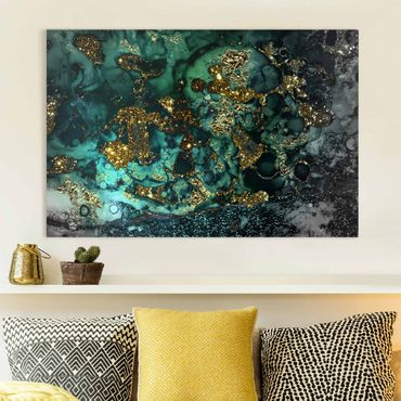 Leinwandbild - Goldene Meeres-Inseln Abstrakt - Querformat 2:3