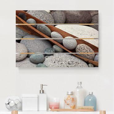 Holzbild - Stillleben mit grauen Steinen - Querformat 2:3