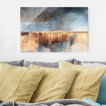 Glasbild - Abstraktes Seeufer in Gold - Querformat 2:3