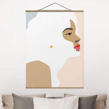 Stoffbild mit Posterleisten - Line Art Portrait Frau Pastell Rosa - Hochformat 4:3