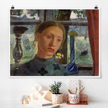 Poster - Paula Modersohn-Becker - Mädchenkopf vor Fenster - Querformat 3:4