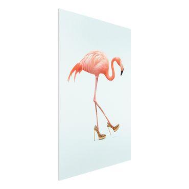 Forex Fine Art Print - Jonas Loose - Flamingo mit High Heels - Hochformat 3:2