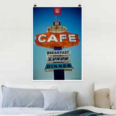 Poster - Route 66 - Schild Café - Hochformat 3:2
