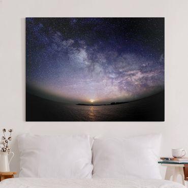 Leinwandbild - Sonne und Sternenhimmel am Meer - Querformat 3:4