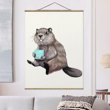 Stoffbild mit Posterleisten - Laura Graves - Illustration Biber mit Kaffeetasse - Hochformat 4:3