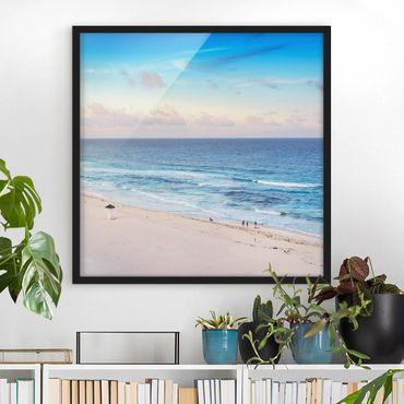 Bild mit Rahmen - Cancun Ozean Sonnenuntergang - Quadrat 1:1