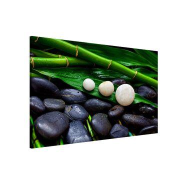 Magnettafel - Grüner Bambus mit Zen Steinen - Memoboard Querformat 2:3