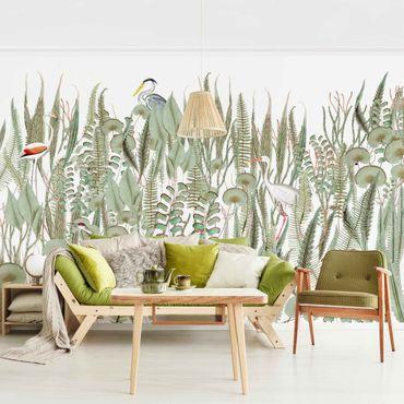 Tapete selbstklebend - Flamingo und Storch mit Pflanzen - Fototapete Querformat