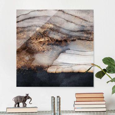 Glasbild - Goldener Marmor gemalt - Quadrat 1:1