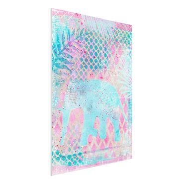 Forex Fine Art Print - Bunte Collage - Elefant in Blau und Rosa - Hochformat 4:3