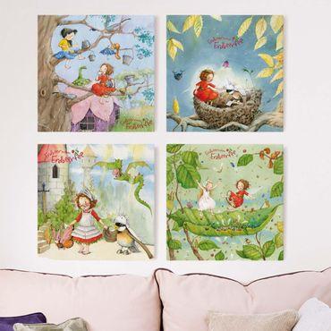 Leinwandbild 4-teilig - Erdbeerinchen Erdbeerfee - kleine Abenteuer