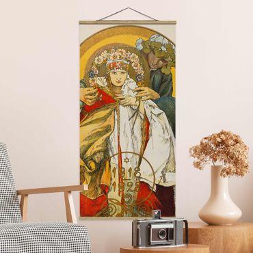 Stoffbild mit Posterleisten - Alfons Mucha - Plakat Tschechoslowakischen Republik - Hochformat 2:1