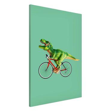 Magnettafel - Jonas Loose - Dinosaurier mit Fahrrad - Memoboard Hochformat 3:2