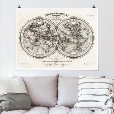Poster - Weltkarte - Französische Karte der Hemissphären von 1848 - Querformat 3:4