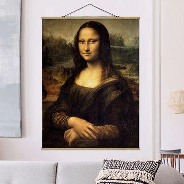 Stoffbild mit Posterleisten - Leonardo da Vinci - Mona Lisa - Hochformat 4:3