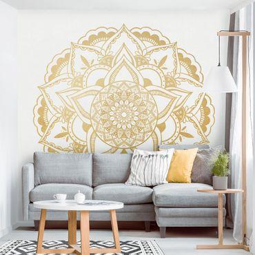 Fototapete - Mandala Blume gold weiß - Fototapete Quadrat